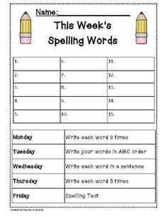 Spelling Packet/Templates for 15 Words (Homework/Center) This includes 4 nights of homework: Write 3 times each Write in ABC order Write 5 times each Write [. Spelling Word Activities, Spelling Word Practice, First Grade Spelling, Spelling Words List, Spelling Homework, Kindergarten Spelling Words, Spelling Games, Spelling Centers, Weekly Homework Sheet