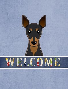 Welcome Min Pin Vertical Flag