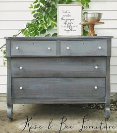 Custom Mixed Gray Painted Dresser with GF Queenstown Gray and Snow White Milk Paints Gray Painted Furniture, Milk Paint Furniture, Find Furniture, Furniture Makeover, Home Furniture, Painting Furniture, Gray Distressed Furniture, Chalk Painting, Refurbished Furniture