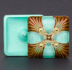 Czech Glass Square Art Deco Button at #SolanaKaiBeads #CzechGlassButtons #ArtDeco