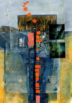 Michèle Brown Artist - The Old Cells Studio: Tall abstract landscape - collage and mixed media on paper