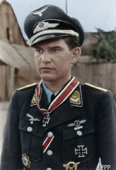 """Helmut Fickel One of the outstanding Stuka pilots of III./SG 2 """"Immelmann"""", Helmut fickle joined 8./St.G. 2 on the Eastern Front in February 1943.He flew as wingman to the great Hans-Ulrich Rudel, perhaps the most successful pilot of World War II. In November 1944 Helmut was promoted Staffelkapitian of 9./SG 2, on one occasion he and his radio operator being rescued by Rudel after crash landing behind enemy lines. He led 9./SG 2 until the end of the war, completing a total of over 800…"""