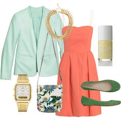 my first polyvore set!   spring colour blocking