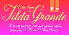 """""""Tilda,"""" the font created by Jessica Hische for the titles in Moonrise Kingdom, is available through The Font Bureau.  It is named after Tilda Swinton, who played Social Services in the Wes Anderson film."""