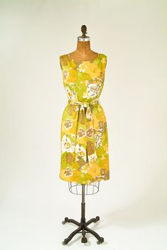 1960s Chartreuse Abstract Dress