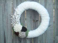Items similar to Winter/Wedding Yarn Wreath Door Decoration/Door Decor with Felt Flowers and Ivory and Brown Berries: Can customize colors on Etsy Felt Flower Wreaths, Xmas Wreaths, Felt Flowers, Door Wreaths, Yarn Wreaths, Winter Wreaths, Fake Flowers Decor, Flower Decorations, Homemade Decorations