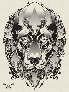 Halftone Print Series - Wolf & Lion by Joshua M. Smith, via Behance