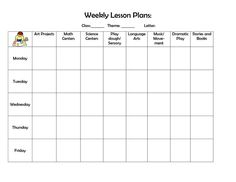 Blank Preschool Weekly Lesson Plan Template My Printable - Blank lesson plan template pdf