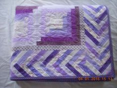 Handmade Twin Size Quilt in Purples Log Cabin by LoveToSewBags