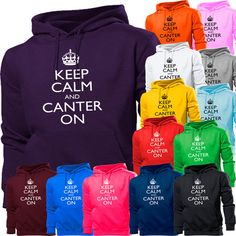 KEEP CALM AND CANTER ON HORSE RIDING PONY RIDE HOODIE HOODY WOMEN BOY GIRLS KIDS | eBay