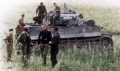 Colorized photo of a Tiger Tank and crew on the Eastern Front