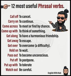 A phrasal verb is a combination of words (a verb a preposition or verb adverb) that when used together usually. Essay Writing Skills, English Writing Skills, Book Writing Tips, Writing Words, English Lessons, French Lessons, Spanish Lessons, English Vocabulary Words, Learn English Words
