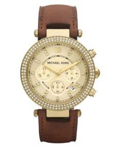 Michael Kors Women's Chronograph Parker Chocolate Brown Leather Strap Watch 39mm MK2249   macys.com