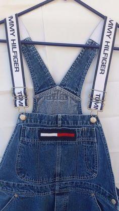 bdd88fc9d36 VTG Tommy Hilfiger Overalls Jeans Spellout Suspenders L Unisex Men Women  Bibs  TommyHilfiger  Carpenter