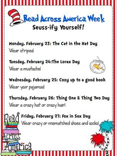 Ways to Seussify yourself for Dr. Seuss Week. Read Across America Celebration: Fun Events All Week Long! (scheduled via http://www.tailwindapp.com?utm_source=pinterest&utm_medium=twpin&utm_content=post111904899&utm_campaign=scheduler_attribution)
