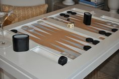 backgammon table contemporary game table dove white - board detail