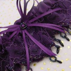 Purple French Lace Garter