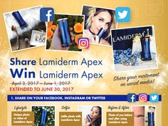 DOUBLE YOUR CHANCES TO WIN LAMIDERM APEX  LAMIDERM APEX ENROLLMENT PROMOTION ENDS IN FIVE WEEKS!  You only have five weeks left to earn your $100 cash bonus! Download the graphics below and post them on your Facebook, Instagram, Twitter and Google+ accounts. If you get five people to try Lamiderm Apex you earn an extra $40 cash! Get just four more and you'll earn $100 cash! Click here for promotion details and start posting the images to your social media pages!      DOUBLE YOUR CHANCES TO…
