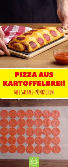 Mal was ganz anderes: Pizza aus Kartoffelbrei! This salami pizza roll is made from mashed potatoes. Chicken Gyro Recipe, Chicken Gyros, Pizza Au Salami, Healthy Pizza Recipes, Chicken Spaghetti, Spaghetti Noodles, Pizza Rolls, Pizza Hut, Greek Recipes