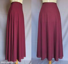 Patrón para falda de media circunferencia.  A diferencia de los esquemas tradicionales para este tipo de faldas, este patrón salvaguarda la ...