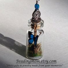 miniature wonderland terrarium bottle pendant with by beadingmom, $20.00