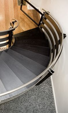 ombre treads / curved stair from steel, stainless steel and wood