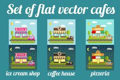 Set of flat vector cafes by Dukesn on @graphicsmag