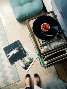 Aerial shot of vinyl records and turntable