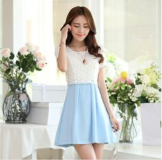 S~XL Summer Dress 2014 Three Color Chiffon Dress Slim Round Neck Short Sleeve Organza Casual Dress Plus Size Women Clothing $17.98
