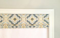 Faux (Fake) Roman Shade Valance With Lining. Grey and Yellow. Faux Roman Shades, Premier Prints, Ribbon Colors, Curtain Rods, Valance Curtains, This Is Us, Upholstery, This Or That Questions, Flat