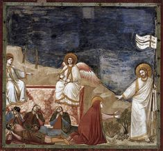 GIOTTO di Bondone No. 37 Scenes from the Life of Christ: Resurrection (Noli me tangere) Fresco, 200 x 185 cm Cappella Scrovegni (Arena Chapel), Padua Noli Me Tangere, Religious Paintings, Religious Art, Renaissance Paintings, Renaissance Art, Web Gallery Of Art, Life Of Christ, Late Middle Ages, Italian Painters