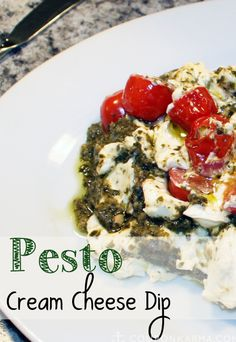 Pesto cream cheese dip - 3 ingredients!