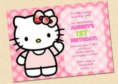 Hello Kitty Birthday Invitation Digital by graphicsmarket on Etsy, $9.95