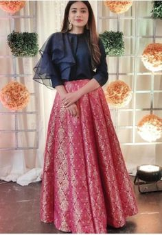 Buy Pink And Blue Color Crop Top Skirt by Akanksha Singh at Fresh Look Fashion - Indian designer outfits - Choli Blouse Design, Choli Designs, Lehenga Designs, Sleeves Designs For Dresses, Fancy Blouse Designs, Crop Top Designs, Look Fashion, Skirt Fashion, Indian Fashion