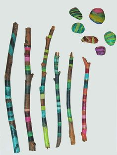 Painted sticks by lilyismyname on Etsy