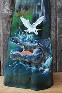 Louisiana Cypress Knee Hand Painted Alligator and Cajun Swamp with Cabin Louisiana Swamp, Louisiana Art, Palm Frond Art, Palm Fronds, Krokodil Tattoo, Cypress Knees, White Egret, American Indian Art, Sculpture Clay