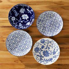 Stylish indigo and white plates