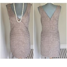 """Chic Express light brown dress. Express bodycon style light brown dress. Stretch in fabric. 16 1/2"""" under arm to under arm. 33"""" from shoulder to hem.  29 1/2"""" waist. 36"""" hips. Very good condition.Stunning. Express Dresses Midi"""