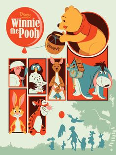 Such good art among all these posters! - Winnie the Pooh | 25 Beautifully Reimagined Disney Posters That Capture The Magic Of The Films