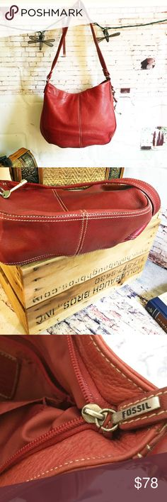 """VINTAGE FOSSIL 1954 Dark Red Leather Bag VINTAGE FOSSIL Dark Red Leather Bag One inside zip and one other compartment.  12h X 10w X 3.5d 12"""" strap drop.  There is a fold in it from being stored (when my crap  was in it, it was fine)  that will come out when loaded up with your crap. Fossil Bags Shoulder Bags"""