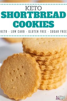 Easy Keto Shortbread - Gluten Free Desserts - These light, crunchy cookies are a family favorite. Delicious and rich, these shortbread cookies w - Keto Cookies, Sugar Free Cookies, Sugar Free Desserts, Sugar Cookies Recipe, Low Carb Desserts, Low Carb Recipes, Yummy Cookies, Chip Cookies, Almond Flour Cookies