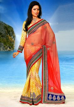 Shaded Peach and #Yellow Faux Georgette #Saree with Blouse @ $112.69