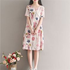 2017 summer new ladies new leads sen daughter Department of art printing long paragraph loose large yards dress a word skirt