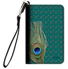 Peacock Feather Leather Wrist Clutch $35.00