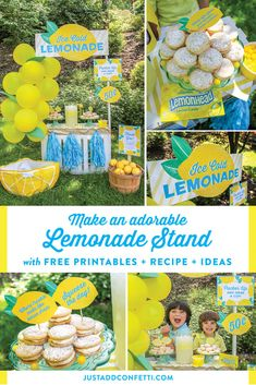 Make a DIY Lemonade Stand this summer! Create an adorable lemonade stand in no time with these ideas and free printables! Also, along with lemonade, serve the most delicious lemon cookies! These cookies are the best! Check out the recipe! #lemonade #lemonadestand #printables #freeprintables #lemoncookies #lemoncookierecipe #JustAddConfetti