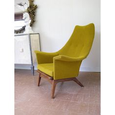 Mid Century Modern Lounge Chair in Mustard Yellow Chartreuse found on Polyvore