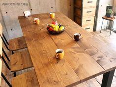 4本脚角鉄脚ダイニングテーブル180*80
