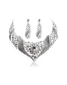 White Wings Rhinestone Earrings and Necklace Set