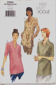 90s Very Easy Vogue Pattern 7064 Womens Pullover by CloesCloset, $9.00