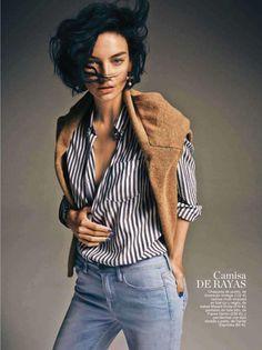 Striped blouse & blue nails.